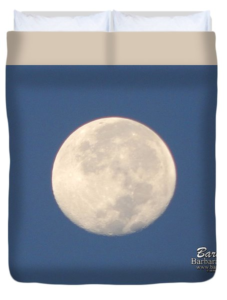 Duvet Cover featuring the photograph Morning Moon by Barbara Tristan