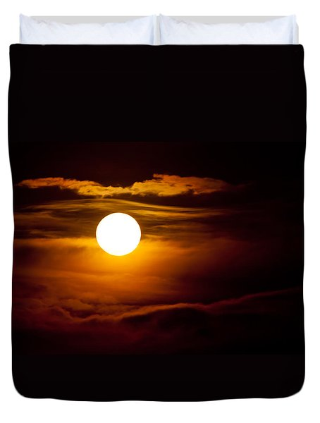 Morning Moonset Duvet Cover by Colleen Coccia
