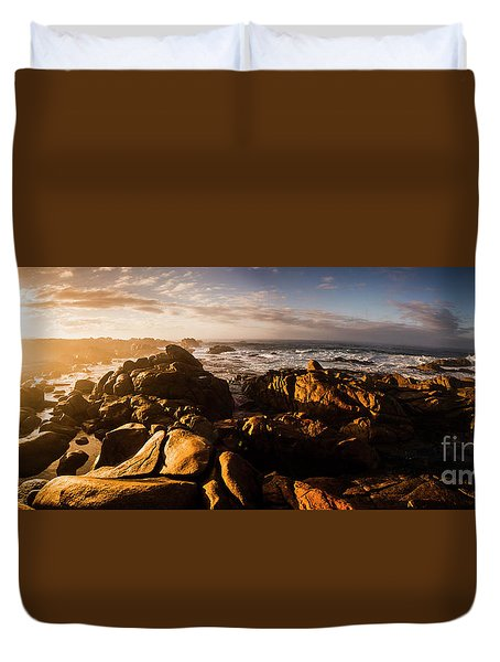 Morning Ocean Panorama Duvet Cover by Jorgo Photography - Wall Art Gallery