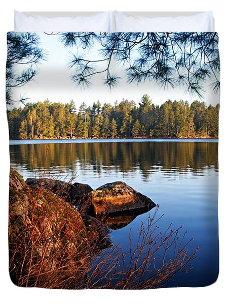 Morning On Chad Lake 2 Duvet Cover by Larry Ricker