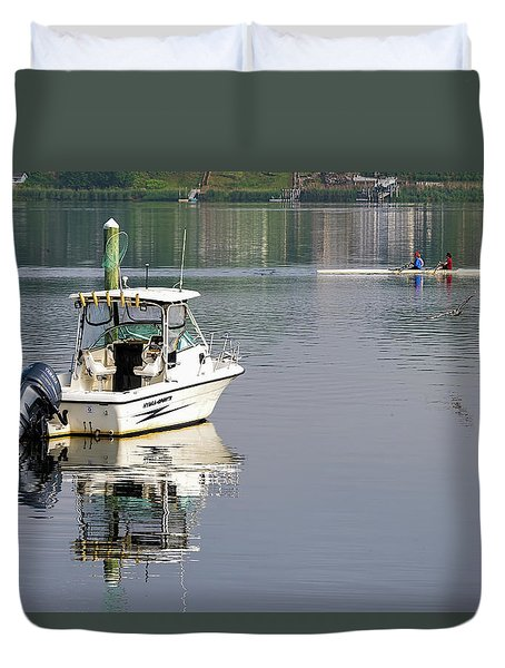 Duvet Cover featuring the photograph Morning On The Navesink River 2 by Gary Slawsky