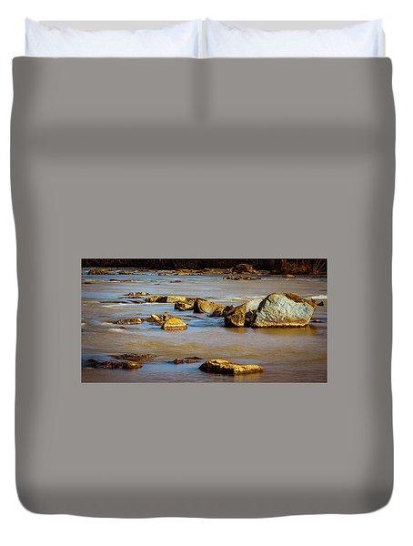 Morning On The Rocky River Duvet Cover