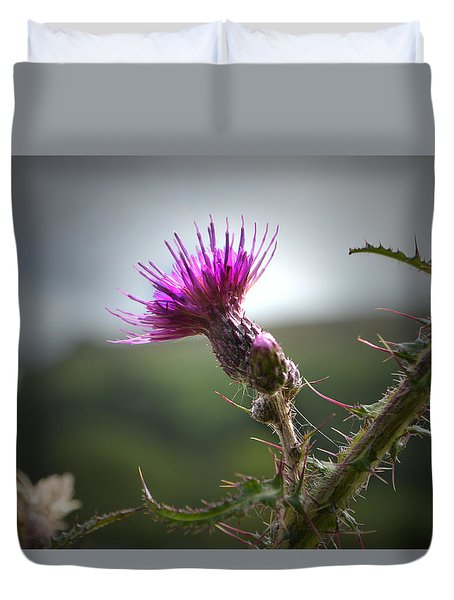 Morning Purple Thistle. Duvet Cover
