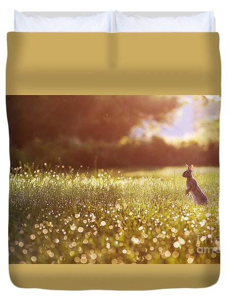 Duvet Cover featuring the photograph Morning Rabbit by Rima Biswas