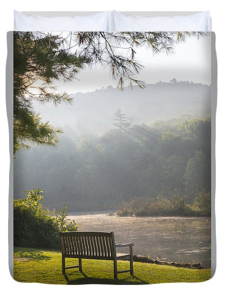 Morning Rays On The Pond And Bench Duvet Cover