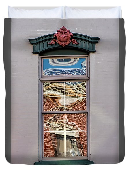 Duvet Cover featuring the photograph Morning Reflection In Window by Gary Slawsky