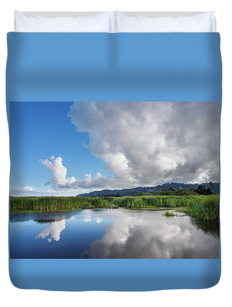 Duvet Cover featuring the photograph Morning Reflections On A Marsh Pond by Greg Nyquist