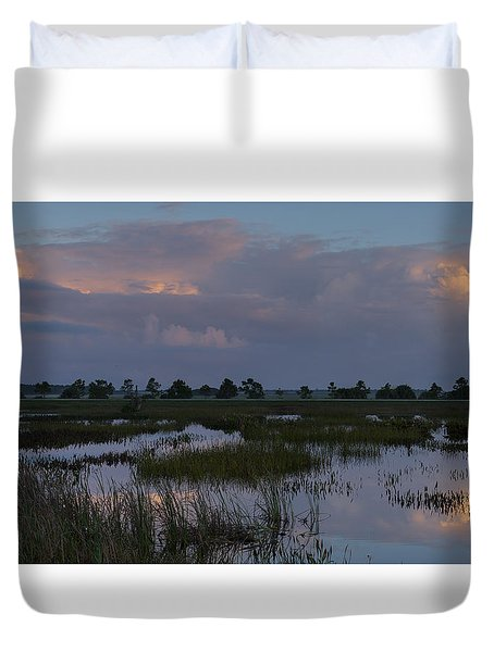 Morning Reflections Over The Wetlands Duvet Cover