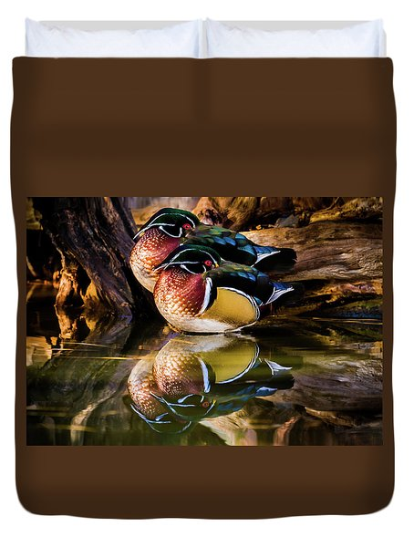 Morning Reflections - Wood Ducks Duvet Cover