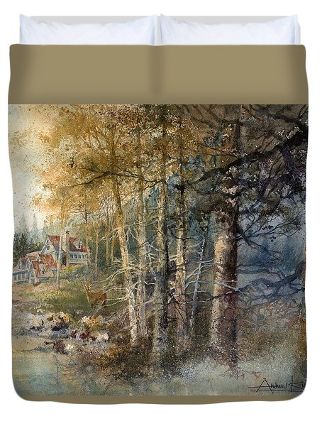 Duvet Cover featuring the painting Morning River by Andrew King