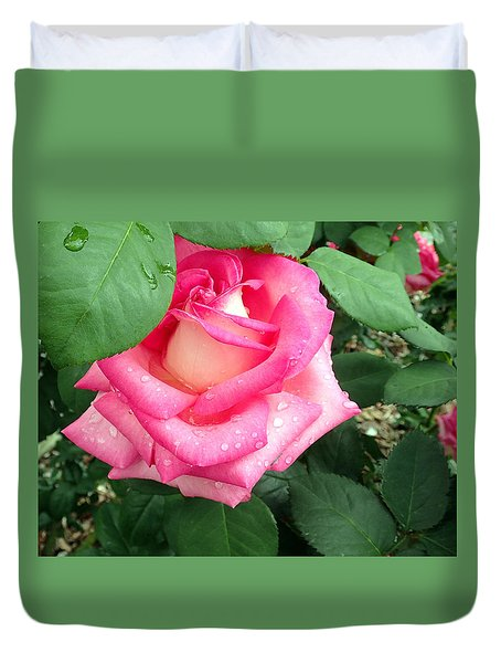 Duvet Cover featuring the photograph Morning Rose by Farol Tomson