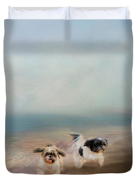 Morning Run At The Beach Duvet Cover