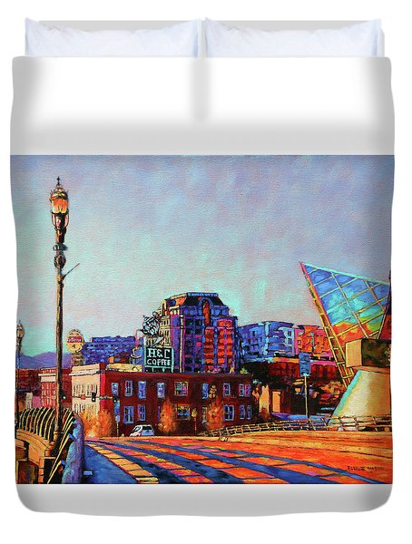 Morning Rush - The Corner Of Salem Avenue And Williamson Road In Roanoke Virginia Duvet Cover
