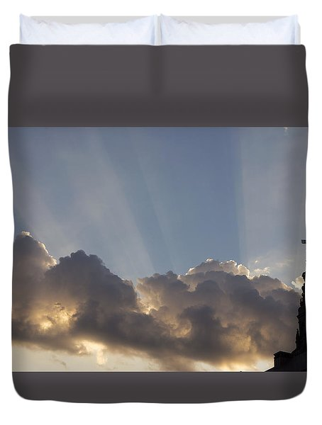 Duvet Cover featuring the photograph Morning Sky by Inge Riis McDonald