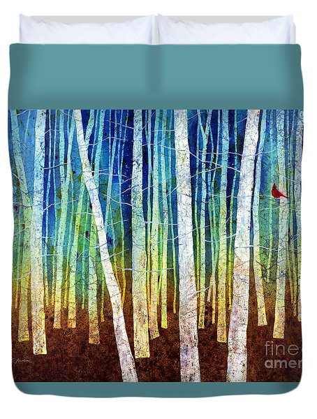Duvet Cover featuring the painting Morning Song I by Hailey E Herrera