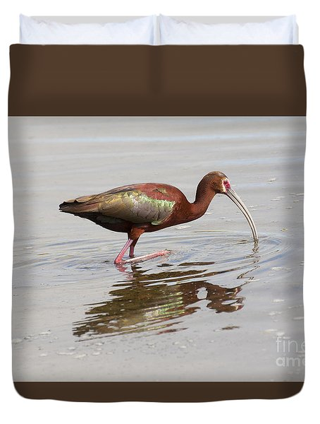 Duvet Cover featuring the photograph Morning Spent With An Ibis by Ruth Jolly