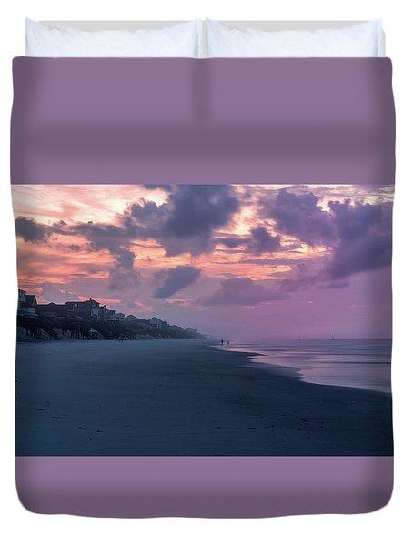Morning Stroll On The Beach Duvet Cover