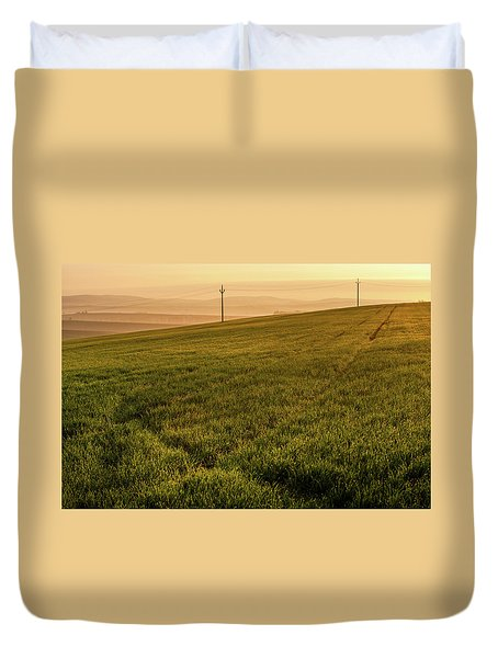 Duvet Cover featuring the photograph Morning Sun. Moravian Tuscany by Jenny Rainbow