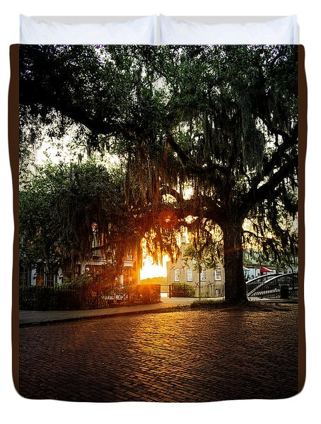 Morning Sun On The Bricks Of Savannah Duvet Cover