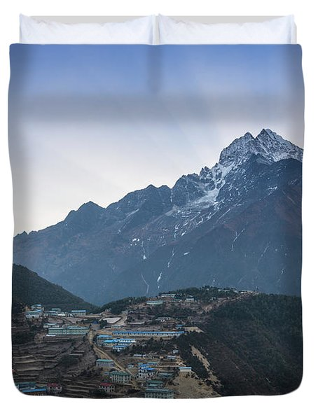 Duvet Cover featuring the photograph Morning Sunrays Namche by Mike Reid