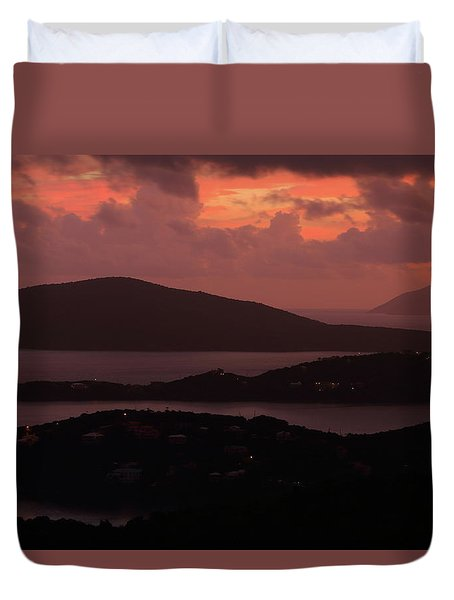 Duvet Cover featuring the photograph Morning Sunrise From St. Thomas In The U.s. Virgin Islands by Jetson Nguyen