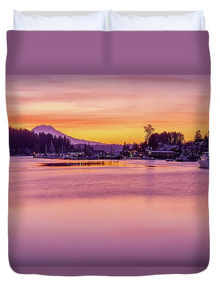 Morning Sunrise In Gig Harbor Duvet Cover by Ken Stanback