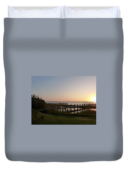Morning Sunrise Over Assateaque Island Duvet Cover by Donald C Morgan