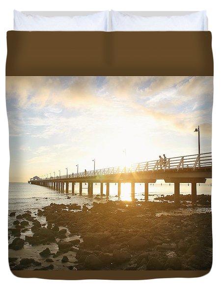 Morning Sunshine At The Pier  Duvet Cover