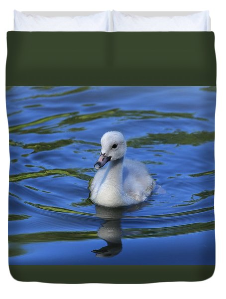 Duvet Cover featuring the photograph Morning Swim by Lynn Hopwood
