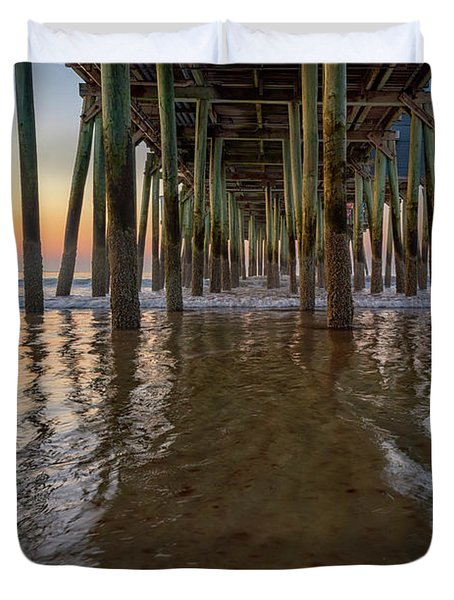 Morning Under The Pier, Old Orchard Beach Duvet Cover