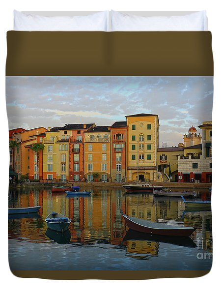 Duvet Cover featuring the photograph Morning Universal Reflections by Deborah Benoit