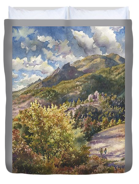 Morning Walk At Mount Sanitas Duvet Cover
