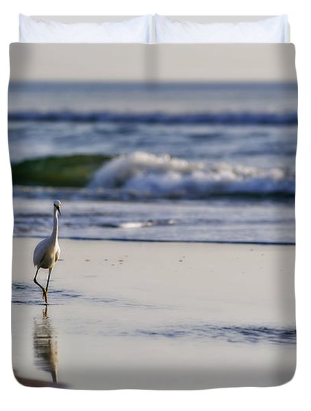 Morning Walk At Ormond Beach Duvet Cover
