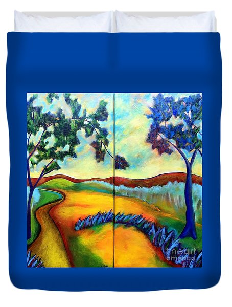 Duvet Cover featuring the painting Morning Walk by Elizabeth Fontaine-Barr