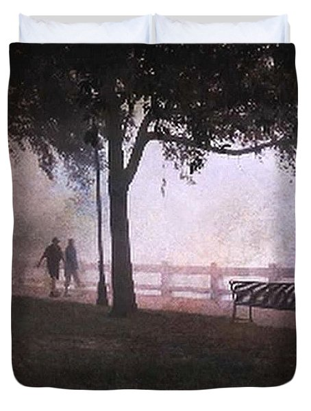 Morning Walk In Fog Duvet Cover