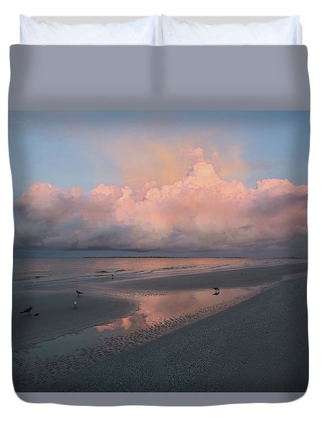Duvet Cover featuring the photograph Morning Walk On The Beach by Kim Hojnacki