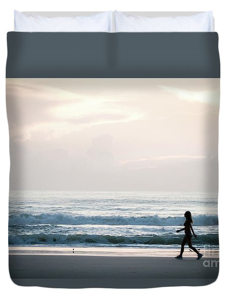 Morning Walk With Color Duvet Cover