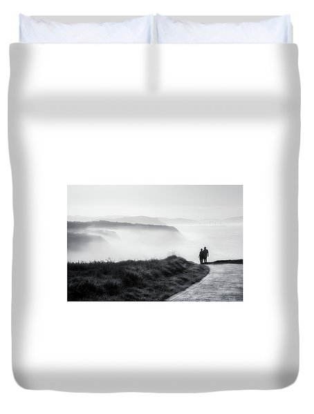 Morning Walk With Sea Mist Duvet Cover
