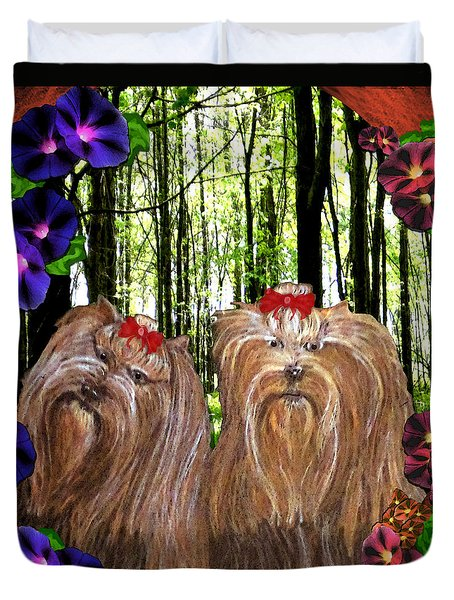 Duvet Cover featuring the digital art Morning Yorkies by Michelle Audas