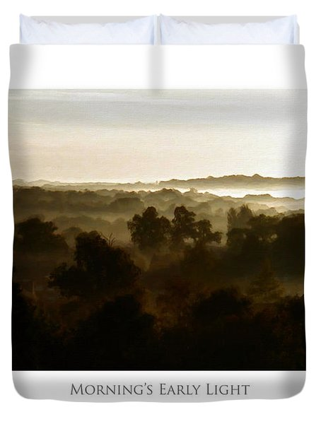 Duvet Cover featuring the digital art Morning's Early Light by Julian Perry