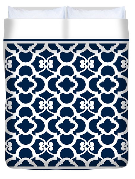 Moroccan Floral Inspired With Border In Oxford Blue Duvet Cover