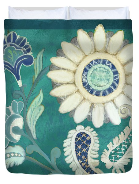 Duvet Cover featuring the painting Moroccan Paisley Peacock Blue 2 by Audrey Jeanne Roberts