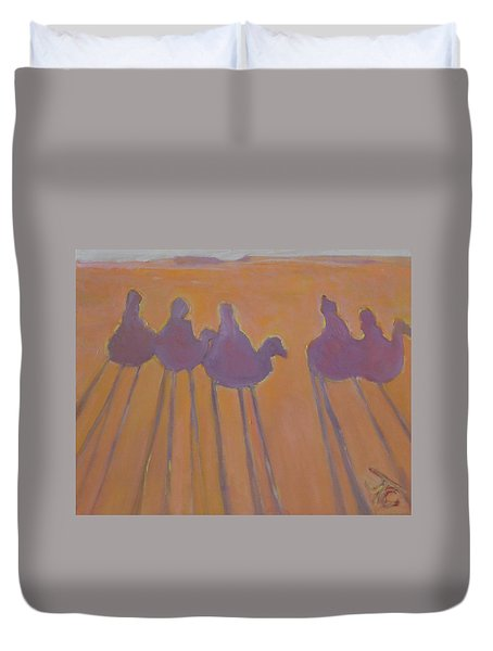 Morocco, Camels, Riders And Shadows. Duvet Cover