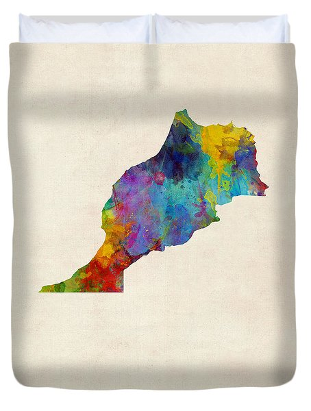 Duvet Cover featuring the digital art Morocco Watercolor Map by Michael Tompsett