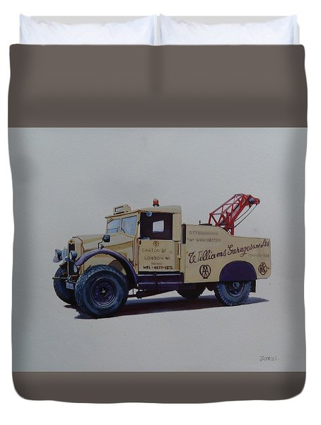 Duvet Cover featuring the painting Morris Commercial Wrecker. by Mike Jeffries