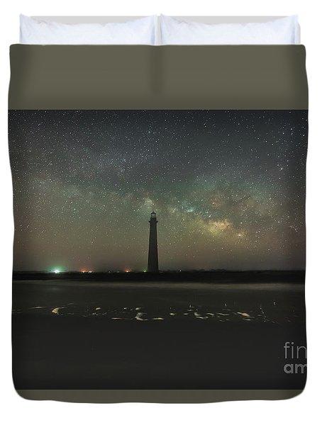 Morris Island Light House Milky Way Duvet Cover
