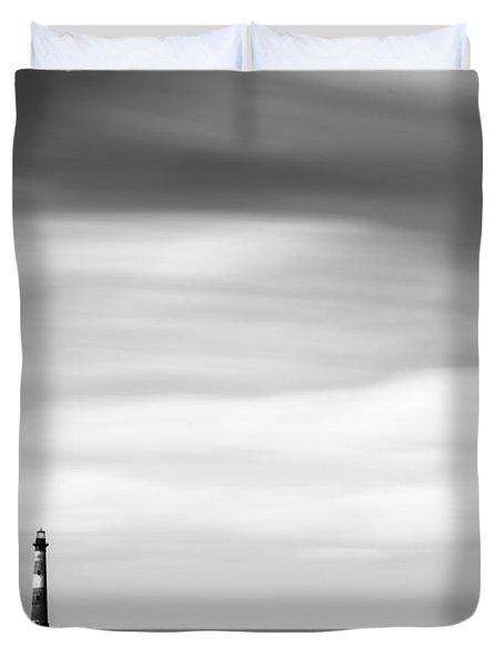 Morris Island Lighthouse Bw Duvet Cover