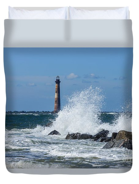 Morris Island Lighthouse Splash Duvet Cover
