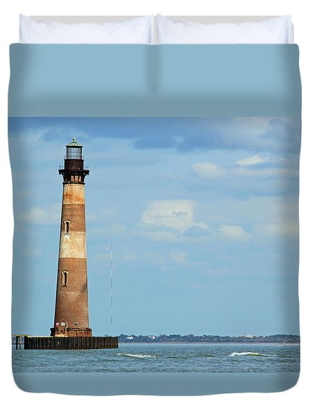Morris Island Lighthouse Duvet Cover by Suzanne Gaff