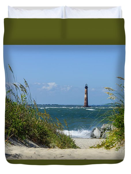 Morris Island Lighthouse Walkway Duvet Cover